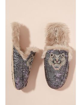 Faux Fur Lined Embroidered Jacquard Slippers by Anthropologie