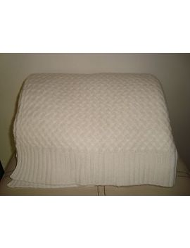 Williams Sonoma Home Cashmere Wool Cross Weave Throw  Ivory  New by Williams Sonoma Home