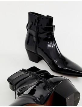 Asos Design Cuban Heel Western Chelsea Boots In Black Patent by Asos Design