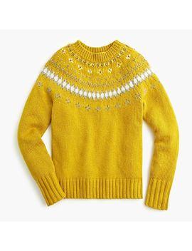 Jeweled Embellished Fair Isle Crewneck Sweater by J.Crew