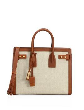 Small Canvas & Tan Sac De Jour Tote by Saint Laurent