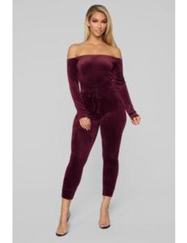 Need A Hug Velour Jumpsuit   Burgundy by Fashion Nova
