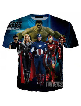 Women/Men The Avengers Captain America 3 D Print Casual T Shirt Short Sleeve Tee by Unbranded