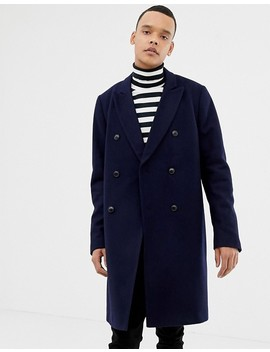 Asos Design Tall Wool Mix Double Breasted Overcoat In Navy by Asos Design