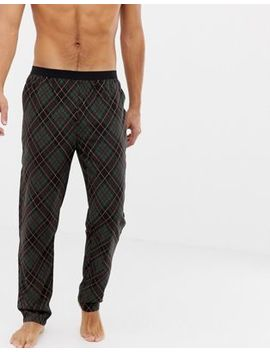 Asos Design Woven Straight Pyjama Bottoms In Argyle Check With Bright Orange Highlights by Asos Design