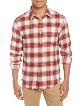 Plaid Fray Hem Slim Fit Cotton Workshirt by Frame
