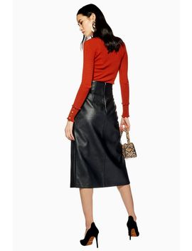 Leather Look Pencil Skirt by Topshop