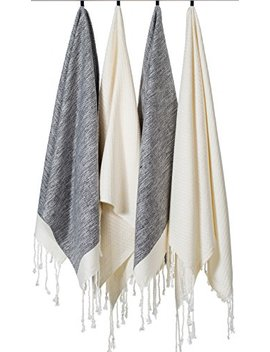 "[Set Of 4] Unique Turkish Cotton Peshtemals & Towels   Size (20"" X 31"") Travel, Bath, Spa, Sauna, Beach, Gym, Pool, Beach, Yoga, Hand, Face   Super Soft Quick Dry And Highly Absorbent, 2 Black 2 White by La Moda Home"