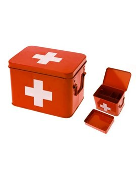 Present Time Red With White Cross Metal Medicine Storage Box, Medium by Present Time