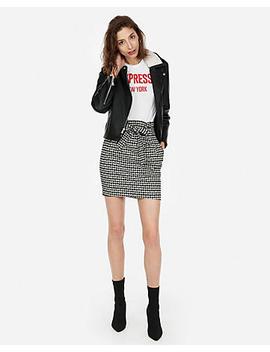Houndstooth Sash Waist Mini Skirt by Express