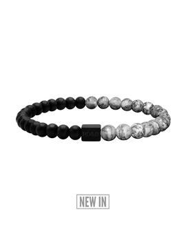 Black Collection   Grey Jasper Stone Bracelet (6mm) by Rose Gold & Black