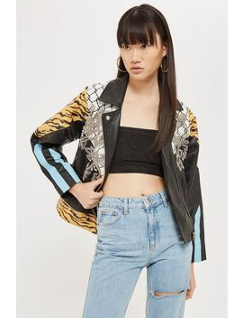 Mix Print Leather Jacket by Topshop