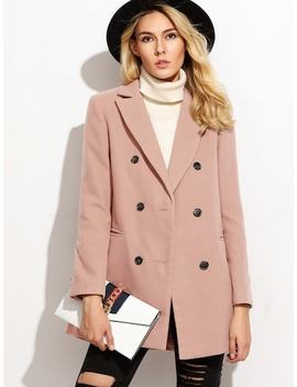 Double Breasted Notched Coat by Shein