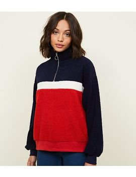 Navy Borg Colour Block Sweatshirt by New Look