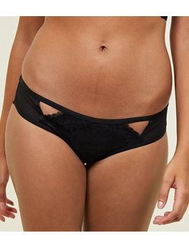 Black Lace Overlay Brazilian Briefs by New Look
