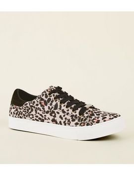 Stone Leopard Print Lace Up Trainers by New Look