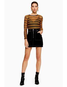 Stripe Crochet Long Sleeve Top by Topshop