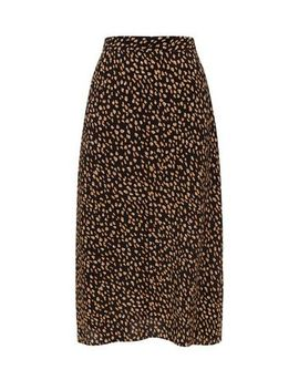 Black And Yellow Spot Print Midi Skirt by New Look