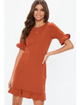 Rust Frill Detail Shift Dress by Missguided