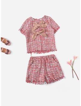 Girls Bow Front Tweed Top & Shorts Set by Shein