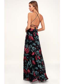 Adventure Seeker Black Rose Print Maxi Dress by Lulus