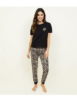Brown Leopard Print Heart K Bye Pyjama Set by New Look