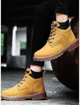 Men Lace Up Ankle Boots by Sheinside