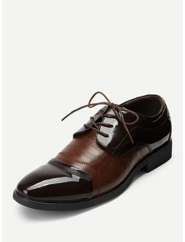 Men Lace Up Textured Dress Shoes by Sheinside