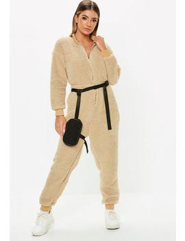 Nude Teddy Long Sleeve Jumpsuit by Missguided