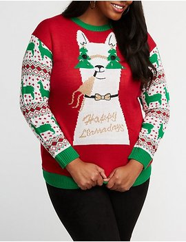 Plus Size Light Up Happy Llamadays Sweater by Charlotte Russe