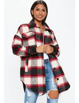 Red Long Length Plaid Print Jacket by Missguided