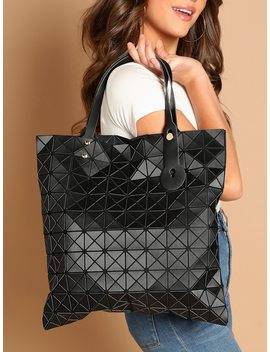 Geometric Diamond Double Top Handle Tote by Sheinside