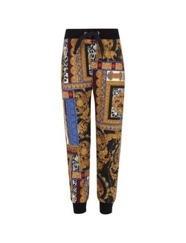 Girls Black Baroque Print Tape Side Joggers by River Island