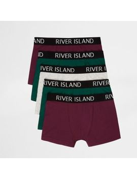 Boys Burgundy And Green Ri Boxers Multipack by River Island