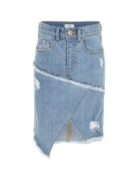 Girls Blue Asymmetric Hem Denim Skirt by River Island