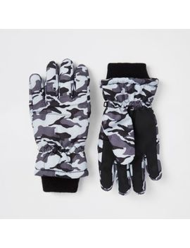 Boys Grey Camo Gloves by River Island
