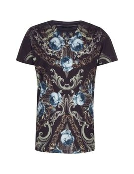 Boys Navy Floral Print Crew Neck T Shirt by River Island