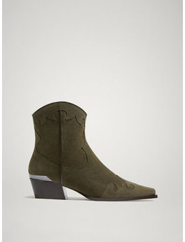 Khaki Split Suede Leather Cowboy Ankle Boots by Massimo Dutti