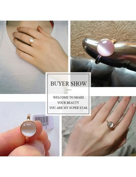 Ustar White Stone Wedding Rings For Women Jewelry Rose Gold Color Engagement Rings Female Anel Bijoux Party Gift Top Quality by Ustar