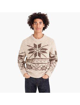 Oversized Fair Isle Crewneck Sweater In Bouclé by J.Crew