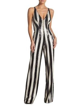 Bobbie Two Tone Sequin Stripe Jumpsuit by Dress The Population