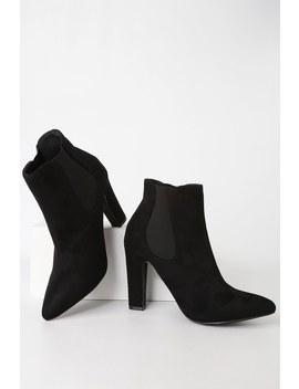 Rabea Black Suede High Heel Ankle Booties by Lulus