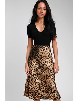 Wild Wonder Brown Leopard Print Satin Midi Skirt by Lulus