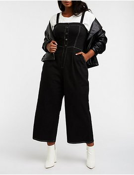 Plus Size Button Up Wide Leg Overalls by Charlotte Russe