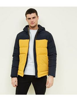 Yellow And Navy Colour Block Puffer Jacket by New Look