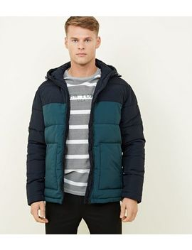 Teal Hooded Colour Block Puffer Coat by New Look