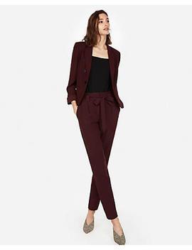 Cabernet Sash Waist Ankle Pant Suit by Express