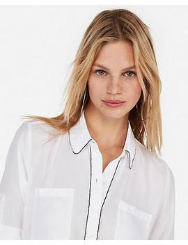 Slim Fit Beaded Portofino Shirt by Express