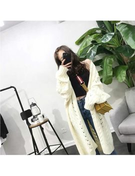 Woherb 2018 Winter Plus Size Long Cardigan Women Hollow Out Sweater Coat Female Knitting Long Sweaters Sueter Mujer 20094 by Woherb