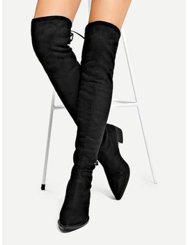 Suede Over The Knee Boots by Sheinside